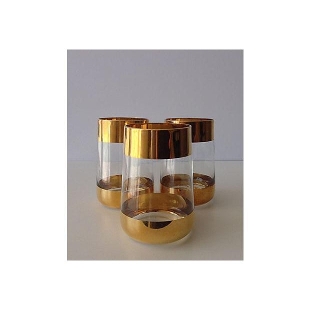Italian 24k Gold Banded Glasses - Set of 3 - Image 2 of 8