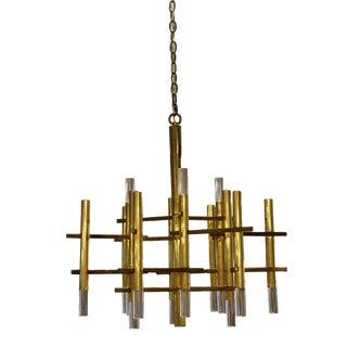 1960s Mid Century Modern Sciolari Brass & Lucite Chandelier Fixture For Sale