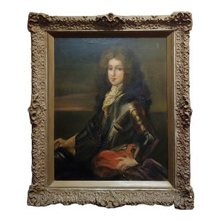 Portrait of a Nobleman in Armor -17th/18th Century Oil Painting For Sale