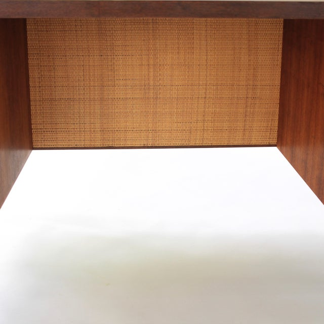 1950s Mid Century Modern Florence Knoll Style Walnut and Cane Desk For Sale - Image 9 of 13