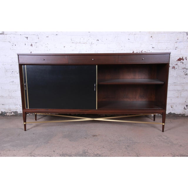 Paul McCobb Calvin Group Mahogany and Brass Credenza For Sale In South Bend - Image 6 of 13