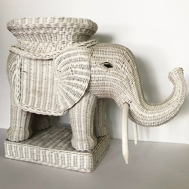 Vintage Wicker Elephant Garden Stool Side Table For Sale In Tampa - Image 6 of 13