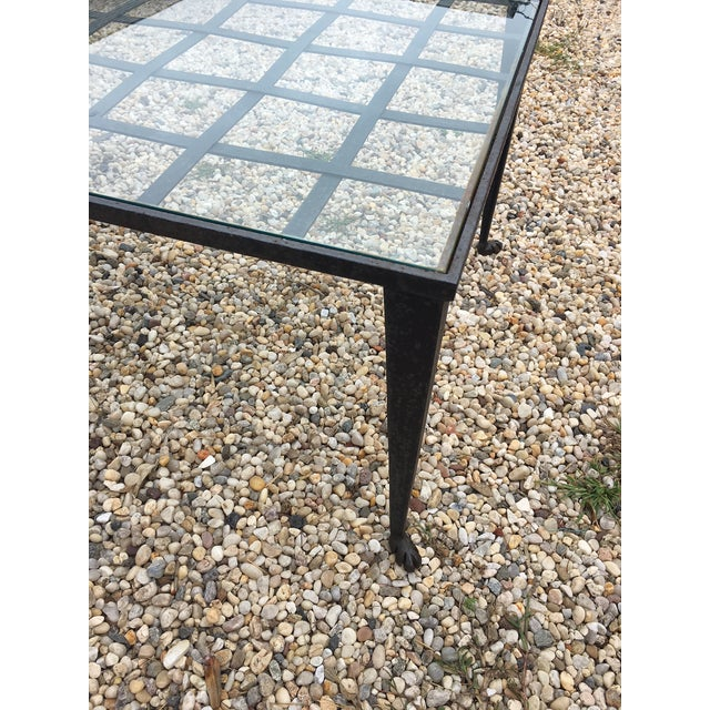 1990's Vintage Custom La Forge Francaise Forged Iron & Glass Coffee Table For Sale In New York - Image 6 of 10