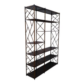 1960s Metal Faux Bamboo Bookshelf For Sale
