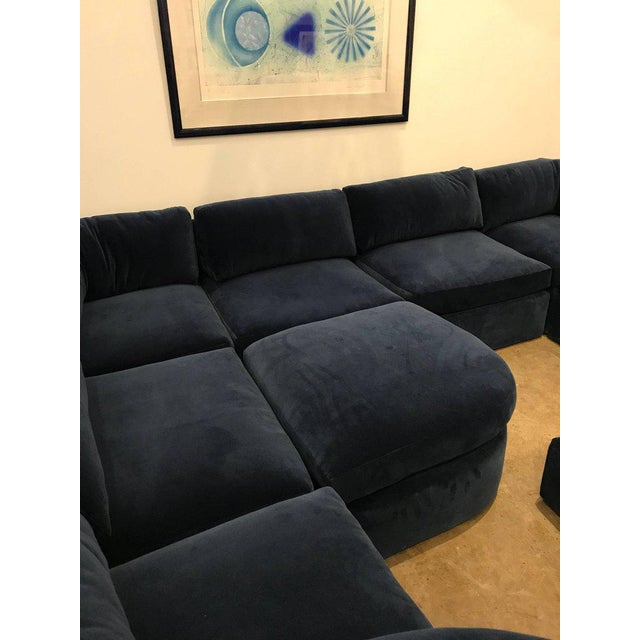 Mid Century Modern / Contemporary 10 pc Thayer Coggin Sectional in Cotton Velvet - Image 8 of 9