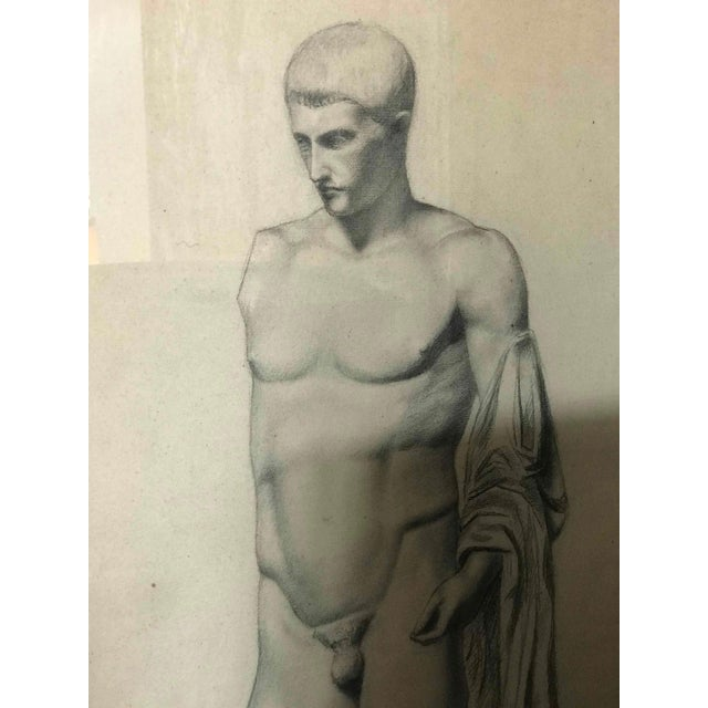 Late 19th Century A Pair of Charcoal Drawings of a Sculpture of a Male Nude For Sale - Image 5 of 8