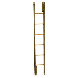 Edwardian Olive Green Leather and Brass Tack Stick Ladder