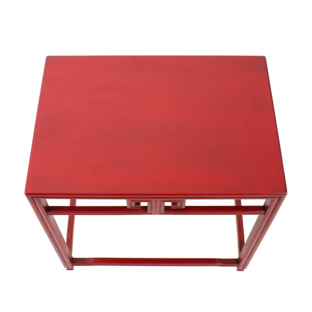 Metal Pair of Michael Taylor for Baker Far East Red Side Tables For Sale - Image 7 of 9
