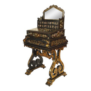 19th Century Victorian Papier Mâché Pearl Inlaid Secretary Desk For Sale