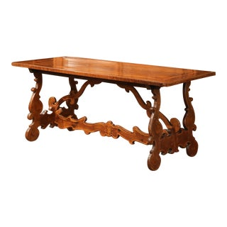 19th Century Italian Carved Walnut Table With Inlay Decorative Accents For Sale
