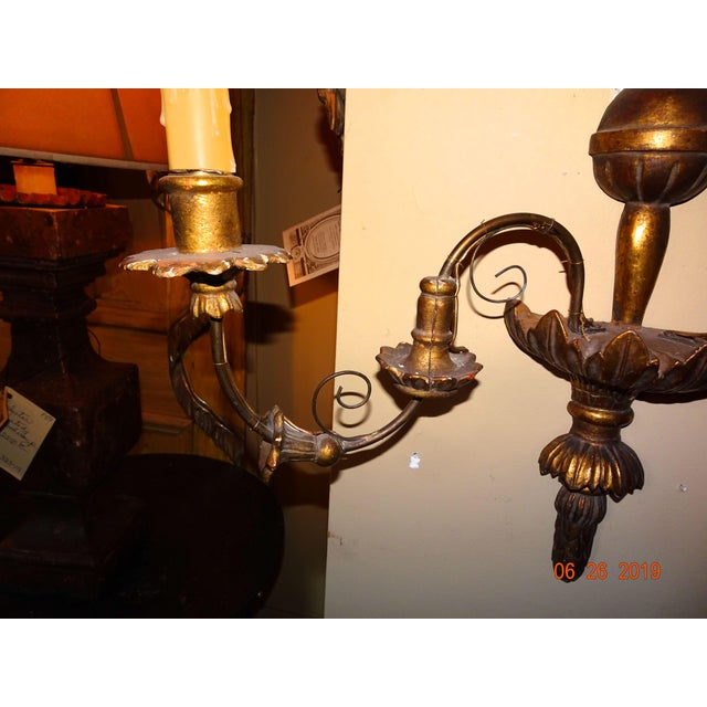 Early 19th Century 19th Century Pair of French Gilt Wood Sconces For Sale - Image 5 of 11