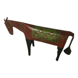 Vintage 1970s Red Metal Horse Figure For Sale