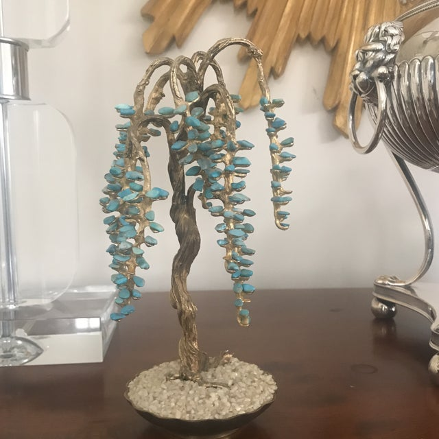 Turquoise & Brass Jewel Tree Figurine - Image 3 of 10