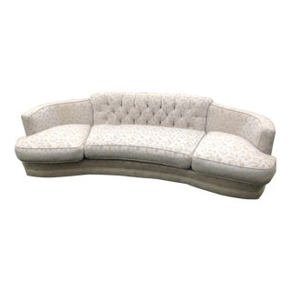 Mid Century Curved Tufted Sofa For Sale