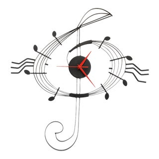 1980s Black Metal Musical Note Wall Clock For Sale