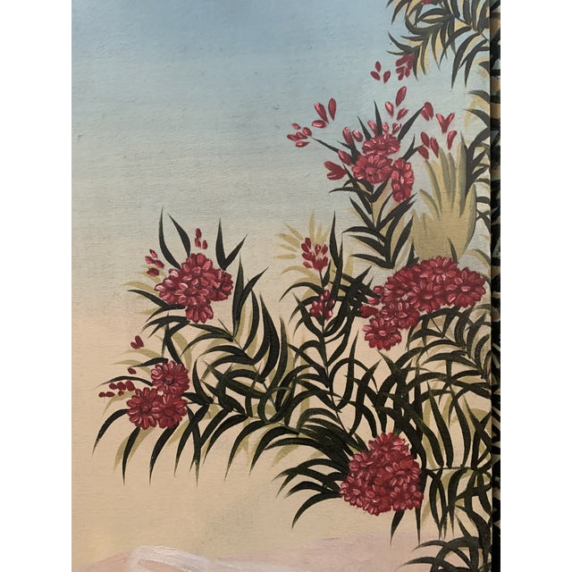 1990s Vintage Maitland Smith Hand Painted 4 Panel Folding Screen For Sale - Image 5 of 13