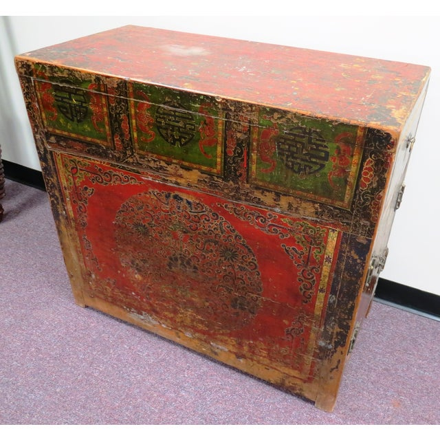 Antique Qing Dynasty Chinoiserie Lacquer Cabinets - Image 9 of 11
