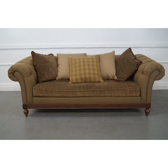 Ethan Allen British Classics Long Tufted Sofa AGE/COUNTRY OF ORIGIN: Approx 15 years, America DETAILS/DESCRIPTION: High...