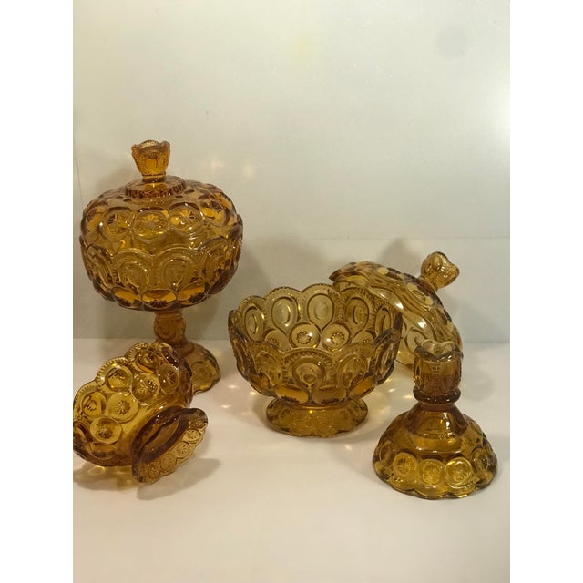Mid-Century Modern Vintage Le Smith Amber Moon and Stars Glass Serveware Set of 4 For Sale - Image 3 of 8
