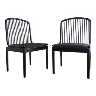 1960s Minimalist Davis Allen for Stendig Ebonized Exeter Side Chairs - a Pair For Sale