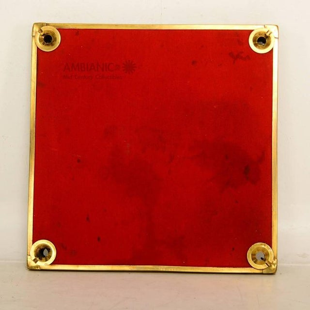 French French Brass Game Table With Red Cloth For Sale - Image 3 of 5