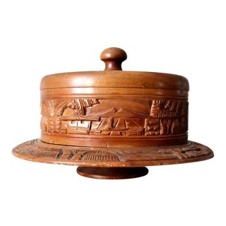 Vintage Carved Wood Cake Stand For Sale