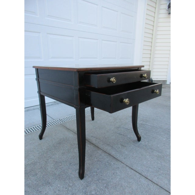 Late 20th Century Theodore Alexander Antiqued Black Lacquer Side Table For Sale - Image 5 of 13