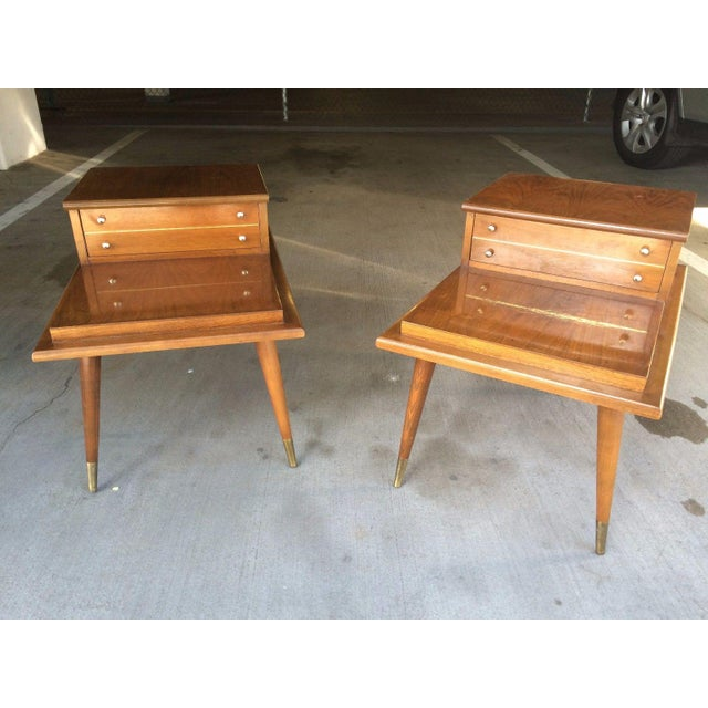 Pair of Mid-Century Modern step side tables with drawers. In the style of Paul McCobb, these would go well with your retro...