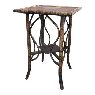 20th Century Asian Leather Top Bamboo Side Table For Sale