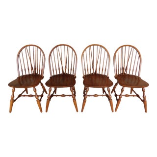 Nichols & Stone Set of 4 Hoop Back Brace Back Windsor Style Side Chairs For Sale