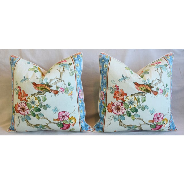 "Cotton English Chinoiserie Floral & Birds Feather/Down Pillows 24"" Square - Pair For Sale - Image 7 of 12"