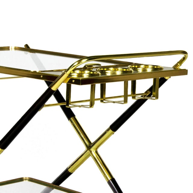 1950s Bar Cart with Tray by Cesare Lacca, Beech, Brass and Glass, Italy For Sale - Image 10 of 11