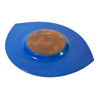 "Jens Quistgaard Dansk Danish Mid-Century Modern ""Festivaal"" Oval Blue Lacquer Cheese Board /Serving Platter For Sale"