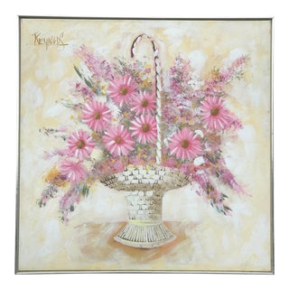 Mid-Century Pink Floral Oil Painting by Lee Reynolds For Sale