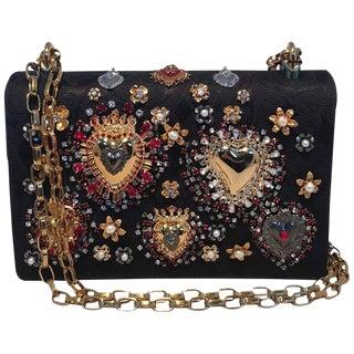 Dolce and Gabbana Dg Girls Brocade Embellished Handbag For Sale