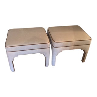 Pair of Hermes Inspired Ottomans/Stools For Sale