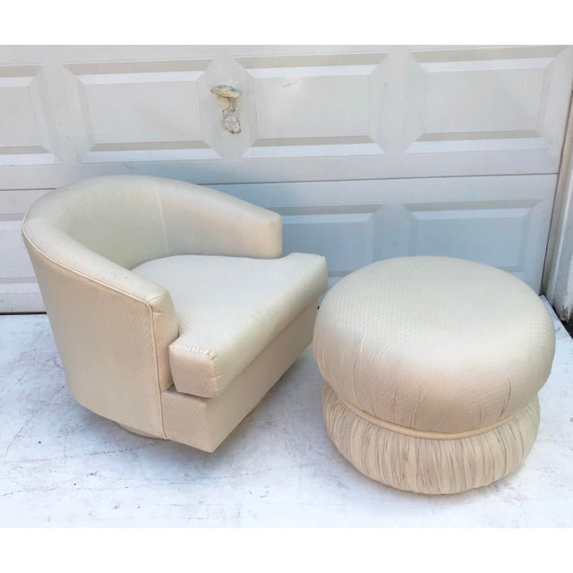 Modern Modern Swivel Club Chair With Matching Pouf Ottoman For Sale - Image 3 of 10