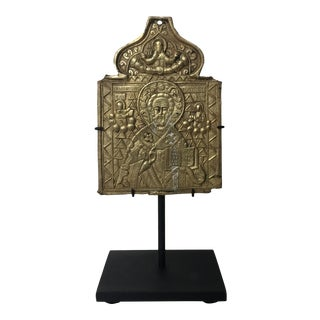 Mid 19th Century Antique Icon of St. Nicholas For Sale
