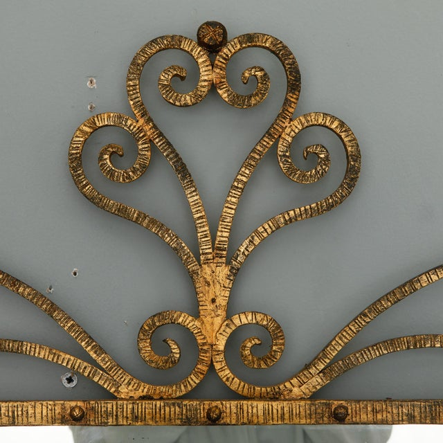 1960s 1960s Large Italian Gilt Metal Horizontal Scrollwork Mirror For Sale - Image 5 of 8