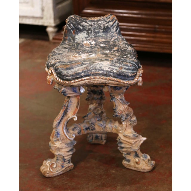 Decorate a master bathroom with this comfortable antique vanity chair; crafted in France circa 1920, the Rococo stool...
