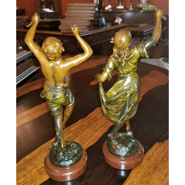 Late 19th Century 19th C. Bronzed Spelter Sculptures After Auguste Moreau - a Pair For Sale - Image 5 of 13