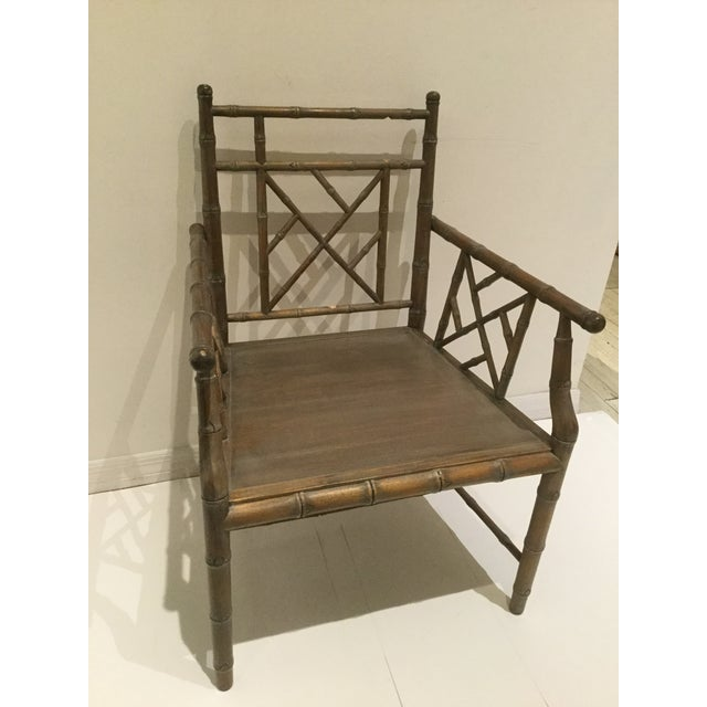 Faux Bamboo Chippendale Styled Side Chair with Intricate Carved Detail. This Piece Would also Make a Terrific Desk Chair.