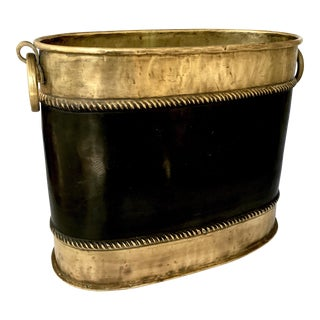 Vintage Oval Brass Planter Pot With Ring Handles