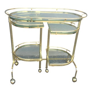 3 Tier Brass Folding Bar Cart For Sale