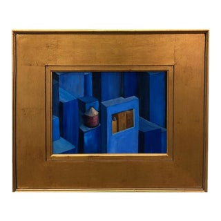 Surrealist Blue Oil Painting in Gilt Gold Frame For Sale