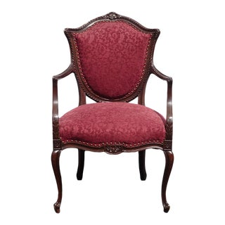 Antique French Louis XVI Red Burgundy Ornately Carved Accent Chair For Sale