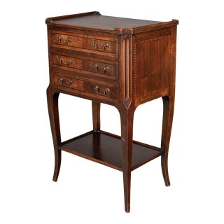 French Walnut Marquetry Side Table For Sale
