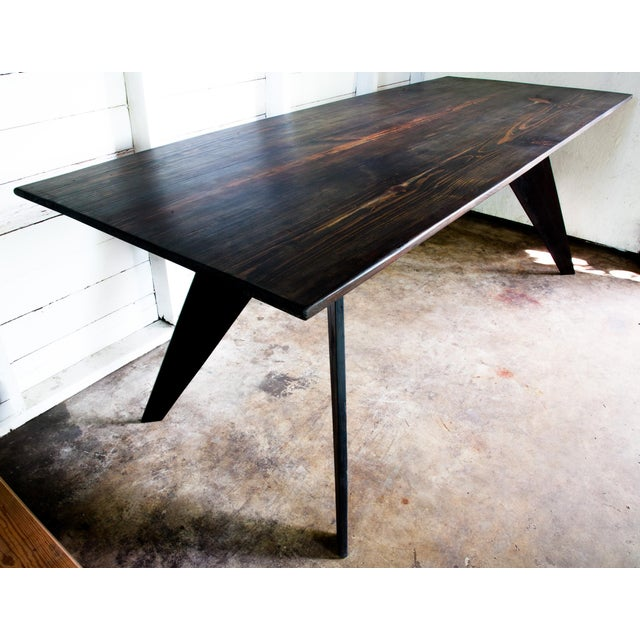 """Mid-Century Modern Prouve Style Artisan Made Em Solvay Black Dining Conference Table - Black Brown 80"""" For Sale - Image 3 of 11"""