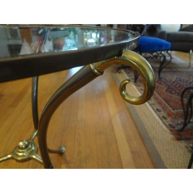 French Maison Baguès Style Brass Table or Guéridon With Glass Top For Sale In Houston - Image 6 of 11