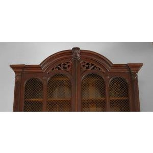American Victorian plum-pudding mahogany secretaire-bookcase For Sale - Image 4 of 4
